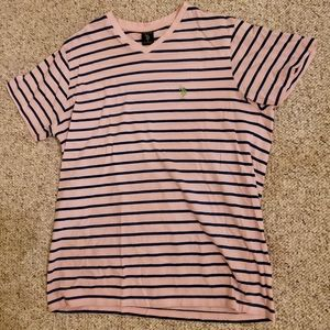 Mens US POLO ASSN Pink tee shirt with navy stripes
